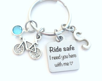 Ride safe I need you here with me Keychain, Bicycle Birthday gift for him or her, Bike Present for Wife Key Chain, Girlfriend Men Keyring