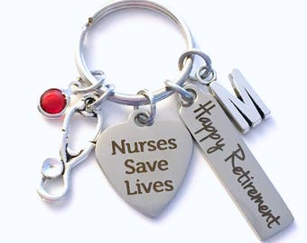 Retirement Gift for Nurse Keychain, Men Women Nursing Keyring, Nurses Save Lives Key Chain, Male Present him her Stethoscope charm medical