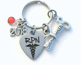 Graduation Present for RPN KeyChain, Registered Practical Nurse Practitioner Key Chain Grad Keyring Jewelry 2018 Initial him her men Scroll