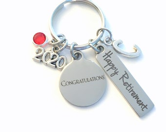 Congratulations Happy Retirement Present, 2020 Congrats Keychain, Gift for Women Men Retire Key Chain Keyring him her Personalized Employee