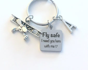 Gift for husband or Wife, Fly safe I need you here with me Keychain, Valentines Day Present for Him Key Chain him her Dad, Airplane Keyring