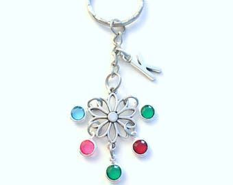 Family Keychain, Mom Grandmother Gramma Nana Grammie Grammy Nan Nannie Key Chain initial birthstone Personalized Purse charm 2 3 4 5 6 7 8 9
