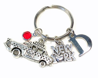New York KeyChain, New York Taxi Key Chain, The Big Apple I love New York Keyring, NYC Gift Jewelry Personalized Initial Birthstone custom