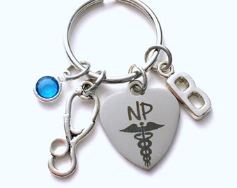 NP Keychain, NP Keyring, Gift for Nurse practitioner Present, Stethoscope Key chain Medical Caduceus Birthstone initial letter custom purse