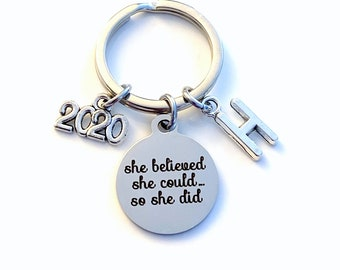 Congratulation Gift, 2020 or other year Keychain Job Promotion Key Chain, Celebration Achievement She believed she could so she did, her