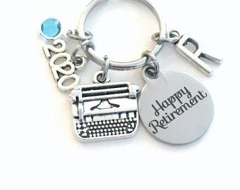 Retirement Gift for Women Keychain, 2020 for Secretary Key chain, Typewriter Keyring Coworker Initial letter birthstone women Journalist her