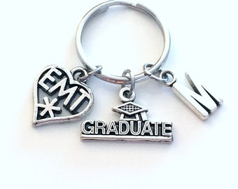 Graduation Gift for EMT Paramedic Keychain, 2019 EMT Student Grad Key Chain, Keyring Initial Letter Medical charm Jewelry EMS star of life