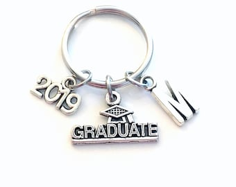 Graduation Key Chain, Gift for Grad Keyring, Graduate Keychain, Present Student 2019 personalized customized with letter initial 2020 2021