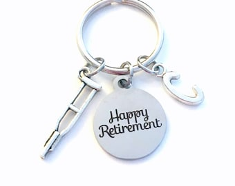 Retirement Gift for Physical Therapist Keychain, 2021 PT Therapy OT Assistant PTA Key chain Keyring Retire Coworker Initial letter Crutch
