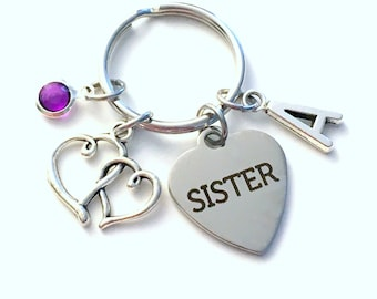 Sister Keychain, Multiple letter or birthstones 2 3 4 5 6, Gift for Trip Key Chain, Best Friend BFF, Baby Middle Big Little Sis ring plain