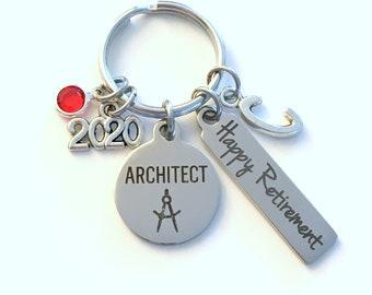 Architect Retirement Present, 2020 Architecture Keychain Gift for Architectural Technology Retire, Key Chain Keyring him her men women