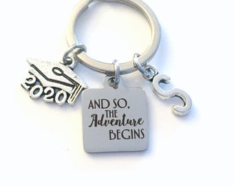 And so the adventure begins Key Chain / 2020 Gift for Graduation Keychain / New Career or Job Keyring / Graduate Present / Son Daughter BFF