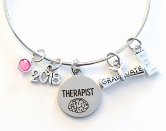 Gift for Therapist Graduation Bracelet, 2018 Social Worker Student Grad Bangle, Jewelry Councillor Charm Scroll Initial women her present