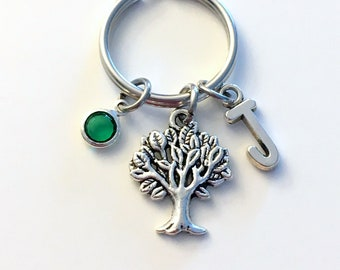 Tree Keychain, Family Tree of Life Key Chain, Nature Gift for Forestry Worker Present Initial Birthstone Custom Personalized Purse Charm mom