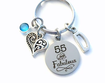Gift for Fifty Fifth Birthday Keychain, Fifty Five and Fabulous Key Chain, 55 55th her Birthstone Initial Birthday Present Jewelry Women Age