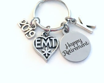 Retirement Gift for EMT Keychain 2019 Medical Paramedic Symbol Boss Him Her Dad Key chain Keyring Retire Coworker Initial letter Men Women
