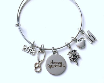 School Nurse Retirement Gift for RN, Charm Bracelet Boss RN Jewelry Silver Bangle Coworker initial women initial custom Christmas Present
