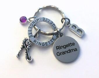 Ringette Grandma Keychain, Gift for Mother's Day Key chain, Silver Keyring, Letter Birthstone Initial Custom Present Women Birthday her