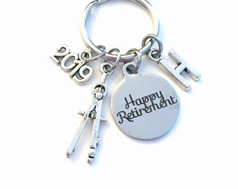 Retirement Gift for Architect Keychain, 2019 Architecture Draft Compass Math Him Key chain Keyring Retire Coworker Initial letter men 2020