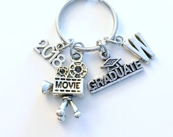 Film School Student Graduation Gift 2018 Photographer KeyChain Camera Key chain Media Keyring initial Visual Arts him her Photography 2019