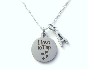 I love to Tap Necklace, Tap Dancer's Jewelry, Gift for Tapper Present, Shoe Click Mark her him women men Boy Girl Teen Canadian Seller Shop