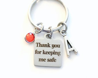 Thank you for keeping me safe Keychain, Gift for School Safety Officer Key Chain, Crossing Guard Walk Security Keyring, her Bus Driver mom