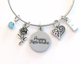 Happy Retirement Jewelry, Retirement Gifts for Women, Charm Bracelet, Silver Bangle initial birthstone Present Flower Rose Heart Love Mother