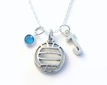 Volleyball Necklace, Volley Ball Jewelry, Gift for Teenage Girl Teen Sport Player present letter birthstone team Silver Charm Pendant boy