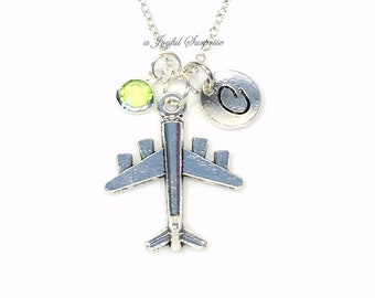 Jet Plane Necklace, Airplane Jewelry, Air Hostess Gift, Present for Travel Agent, Personalized Flight Flying with initial birthstone her him
