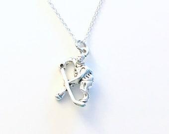 Gift for Boyfriend, Husband Him Dad, Hockey Necklace, Team Teammate Player Present Silver jewelry Long short Chain Man men boy girl her