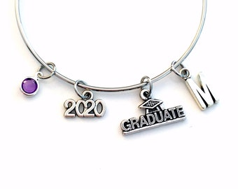 Class of 2021 Graduation Gift Charm Bracelet High School Student University Grad Silver Bangle Jewelry College for initial 2015 2016 or 2017
