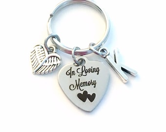 In Loving Memory Keychain, Sympathy Gift for Daughter Son Key Chain, Loss of Mom Dad Keyring, Brother Sister Wife Husband, Angel Wings Heart