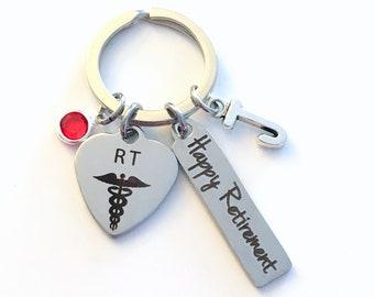 Retirement Gift for RT KeyChain,  Respiratory Therapist Key Chain, Therapy Present Keyring Jewelry Initial Birthstone present women men 2018