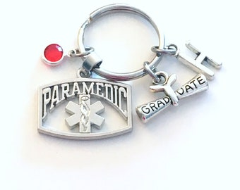 Graduation Gift for Paramedic Keychain, Student Grad Key Chain Keyring Initial Letter Medical charm Jewelry Attendant