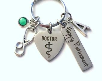 Retirement Gift for Doctor Keychain, Medical Physician Keyring, Surgeon Retire Key Chain, Present him her women Men Stethoscope charm
