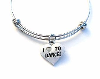I love to Dance Bangle Bracelet, Dance Charm Bracelet, Gift for Dancer Silver Dance Jewelry, Adjustable Bangle daughter niece God Child girl