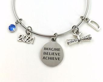 Graduation Gift for Her Bracelet, 2021 Imagine Believe Achieve Jewelry, High School Teen Girl College Grad Silver Teenager Teenage scroll