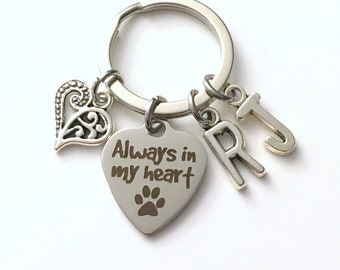 Loss of Dog Memorial KeyChain, Pet Sympathy Gift Key Chain, Always in my Heart Keyring, Cat Rabbit Animal, Multiple 2 3 4 5 6 7 8 9 Parent