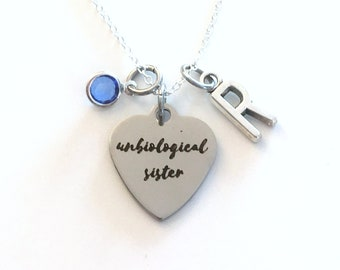 Unbiological Sister Necklace, Gift for Best Friend Jewelry, Girlfriend Present, with birthstone initial letter silver BFF