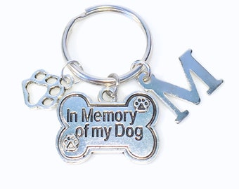 Loss of Dog Keychain Gift, Memorial Pet Jewelry, Sympathy Present Keyring, Death of Animal Key chain, Paw charm, In memory of my dog letter