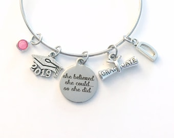 Graduation Gift for Her, She believed she could so she did Grad Charm Bracelet, Present for Daughter, Granddaughter, Niece Goddaughter cap