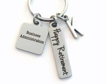 Business Administration Keychain, Gift for Retirement Key Chain, Coworker Present, Mom, Dad, Keyring Jewelry Initial Co Worker Boss Happy
