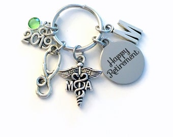 Retirement Gift for MA Keychain, 2019 Caduceus Medical Assistant Key chain Assist Keyring Retire Coworker Initial letter her Associate 2020