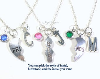 Clearance Sale - Best Friend Necklace, Set of 3 BFF Jewelry Gift for Bridesmaid charm Bridal Personalized Custom Initial Birthstone birthday