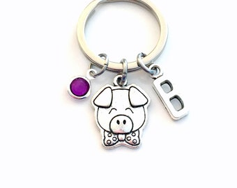 Pig KeyChain / Little Piggy Keyring / Piglet Key chain / Farm Animal Gift / Personalized Custom / birthday present for her him