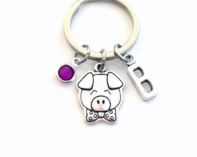 Featured listing image: Pig KeyChain / Little Piggy Keyring / Piglet Key chain / Farm Animal Gift / Personalized Custom / birthday present for her him