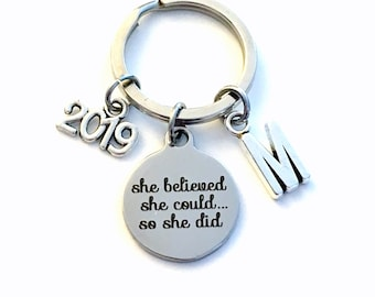 Congratulation Gift, 2019 or other year Keychain Job Promotion Key Chain, Celebration Achievement She believed she could so she did, her
