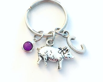 Pig Keychain, Small Piggy Key Chain, Piglet Gift Keyring, Farm Animal Birthday Present, Charlotte's Web Wilbur Teenage Girl Teenager Teen