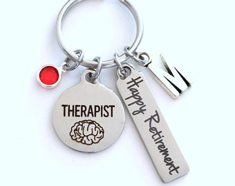 Retirement Gift for Therapist KeyChain, Social Worker Key Chain, Brain Therapy Present Keyring Jewelry Initial Birthstone present women men