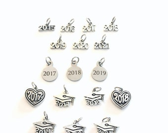 Add a Year charm, 2019, 2020, 2021 etc Date pendant antique Silver for Keychain Necklace graduation customized class of add on a 2015 2016